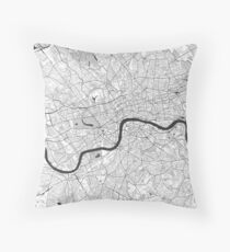 London Map Gray Throw Pillow