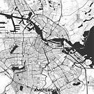 Amsterdam Karte Grau von HubertRoguski