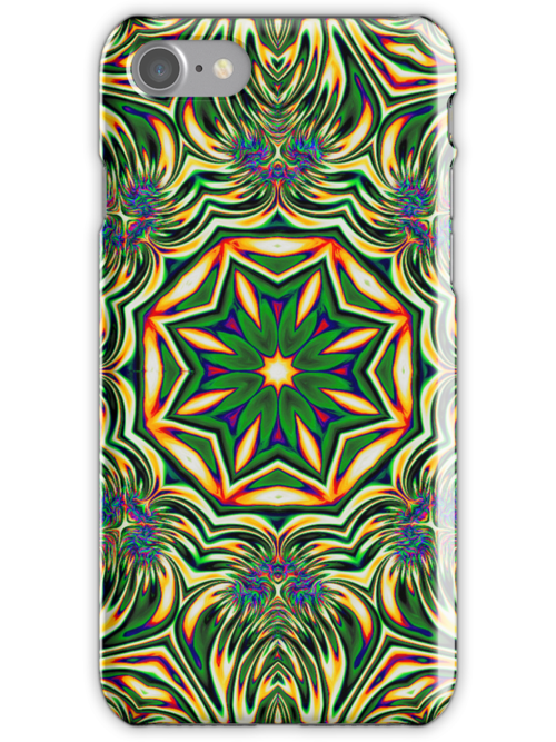Psychedelic Kaleidoscope 1 Green Mandala abstract iPhone & iPod Cover by Leah McNeir