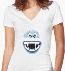 Simple Bumble Face Women's Fitted V-Neck T-Shirt