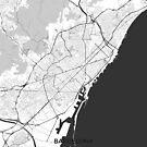 Barcelona Karte Grau von HubertRoguski