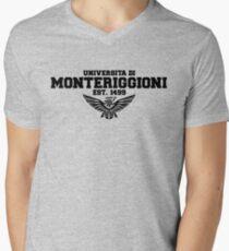 Universita di Monteriggioni (Black) Men's V-Neck T-Shirt
