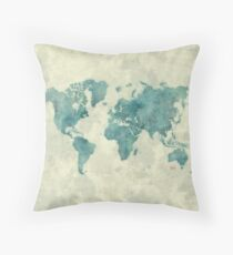 World Map Map Blue Vintage Throw Pillow