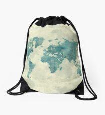 World Map Map Blue Vintage Drawstring Bag