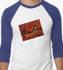 Ukulele Lady Postcard Men's Baseball ¾ T-Shirt