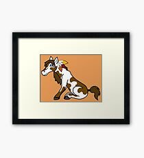 Thanksgiving Painted Horse with Turkey Feathers Framed Print