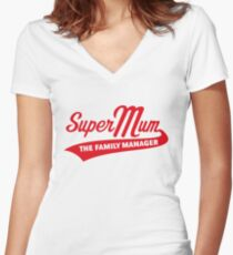 Super Mum – The Family Manager (Red) Women's Fitted V-Neck T-Shirt