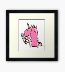 Unicorn and ice cream Framed Print