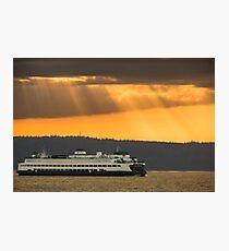 Sun Rays over Puget Sound Photographic Print