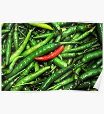 Red on green chilli. Poster