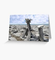 standing boulders in rocky burren landscape Greeting Card