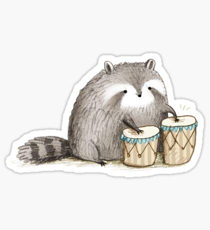 Raccoon on Bongos Sticker
