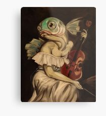 Seated Fish With Violin Metal Print