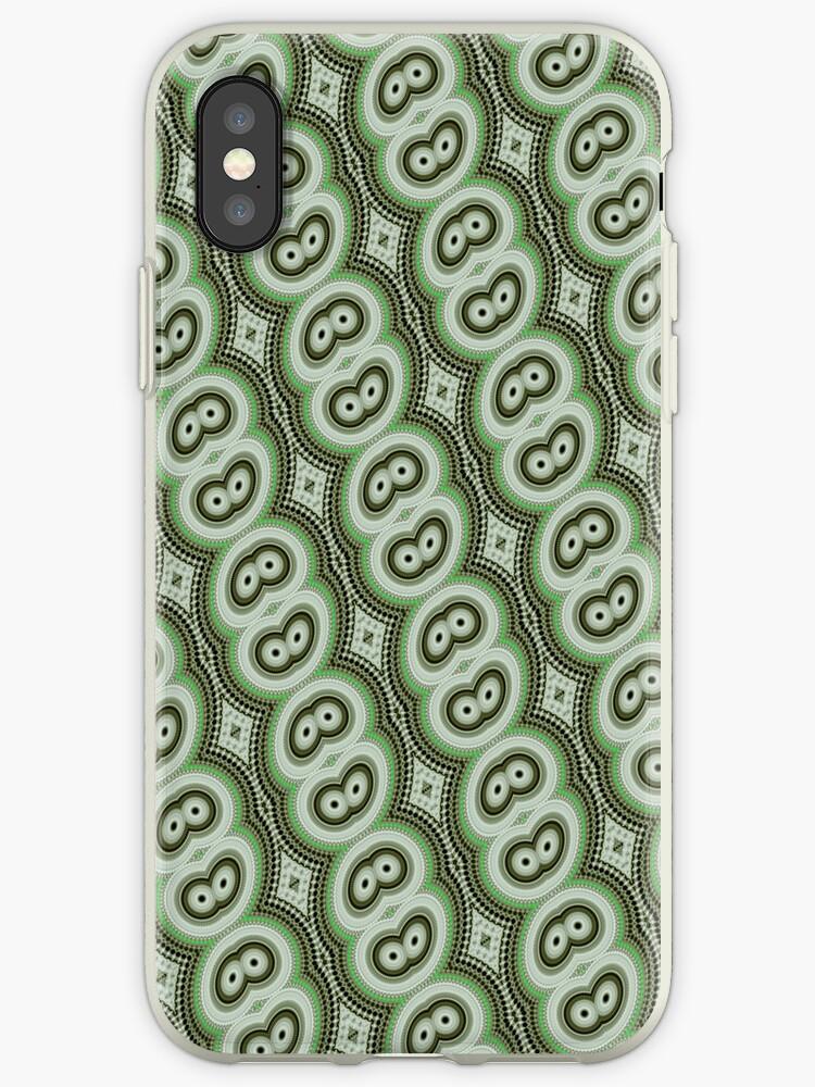 Green retro pattern iPhone case by Vicki Field