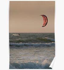 Kitesurfing at Sunset Mandrem Poster