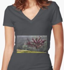 Apple Blossoms - Looking Back at the Beauty of Spring Women's Fitted V-Neck T-Shirt