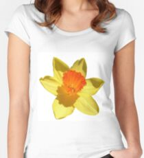 Daffodil Emblem Isolated On White Women's Fitted Scoop T-Shirt