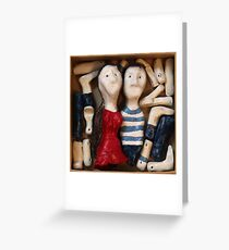 Paul and Mary waiting to be assembled Greeting Card