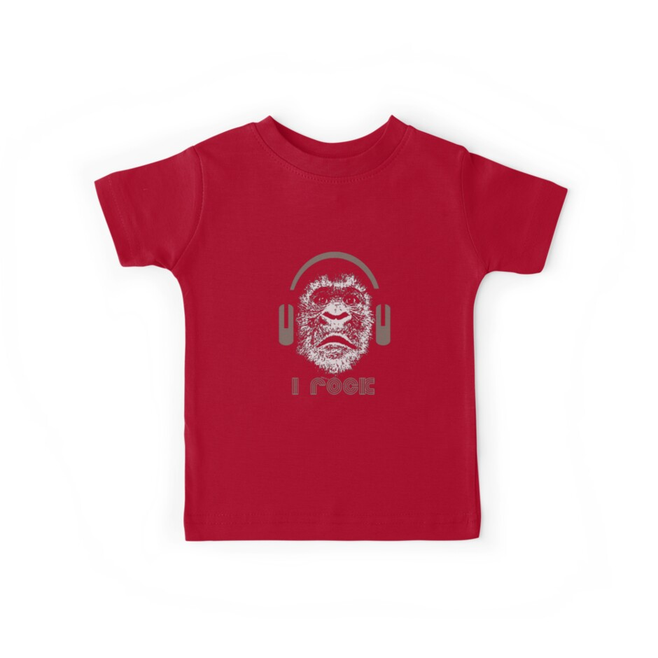 Gorilla Wearing Headphones With Disco Text i rock by taiche