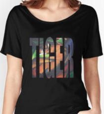 Large Tiger Text With Tiger Camouflaged Women's Relaxed Fit T-Shirt