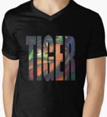 Large Tiger Text With Tiger Camouflaged Mens V-Neck T-Shirt