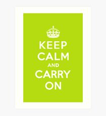 Keep Calm and Carry On Apple Green Art Print