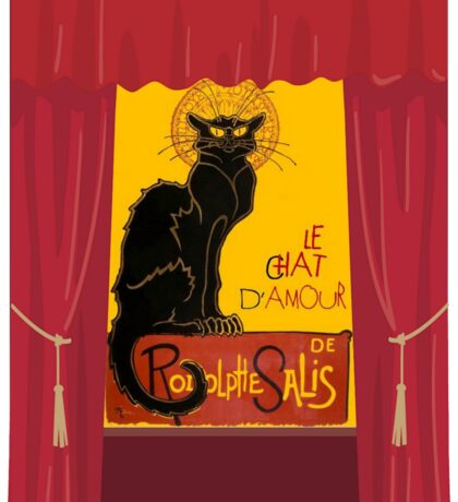 Le Chat D'Amour with Theatrical Curtain Border Sticker