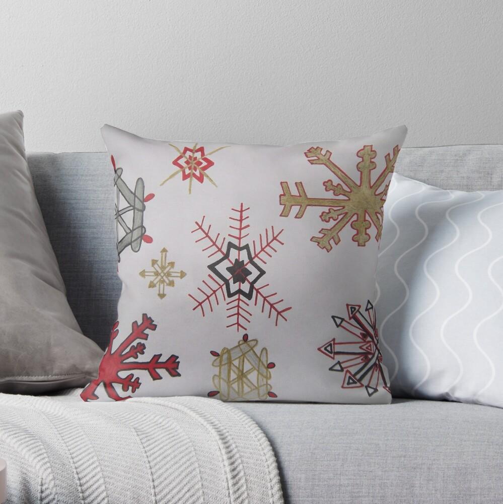 Handdrawn snowflakes Throw Pillow