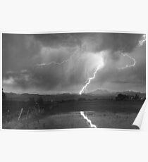 Lightning Striking Longs Peak Foothills 2BW Poster
