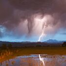 Lightning Striking Longs Peak Foothills  3 by Bo Insogna