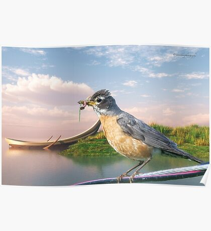 American Robin and a Mouthful Poster