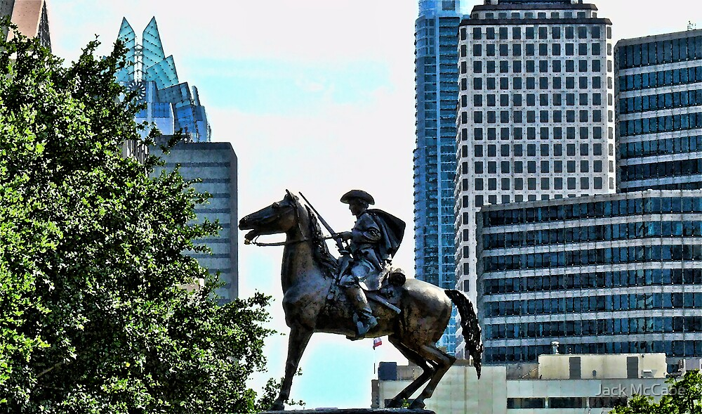 Texas Cowboy Rides Horseback At Austin State Capitol by Jack McCabe