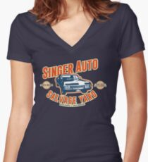 Singer Auto Salvage Yard Women's Fitted V-Neck T-Shirt