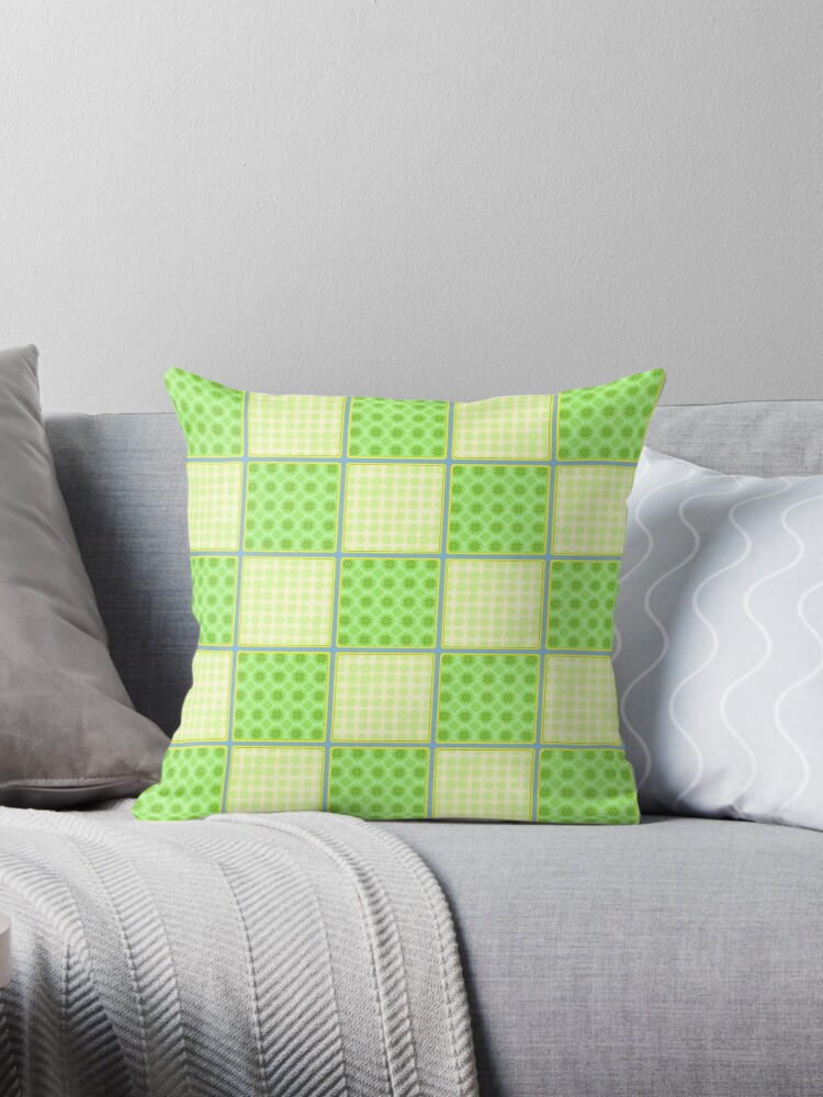 Beautiful Cushions/ Pattern Green Checks by ozcushionstoo