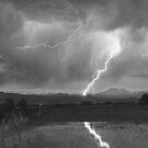 Lightning Striking Longs Peak Foothills  3BW by Bo Insogna
