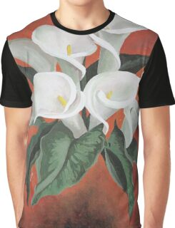 Calla Lilies On A Red Background Graphic T-Shirt