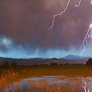 Lightning Striking Longs Peak Foothills 5 by Bo Insogna
