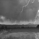 Lightning Striking Longs Peak Foothills 5BW by Bo Insogna