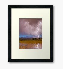Lightning Striking Longs Peak Foothills 7C Framed Print