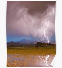Lightning Striking Longs Peak Foothills 7C Poster