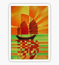 Junk on Sea of Green Cubist Abstract Sticker