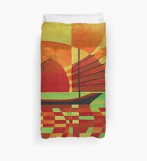 Junk on Sea of Green Cubist Abstract Duvet Cover