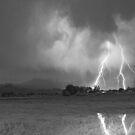 Lightning Striking Longs Peak Foothills 8CBW by Bo Insogna