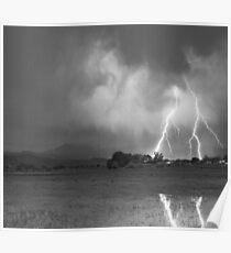 Lightning Striking Longs Peak Foothills 8CBW Poster