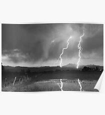 Lightning Striking Longs Peak Foothills 8BW Poster