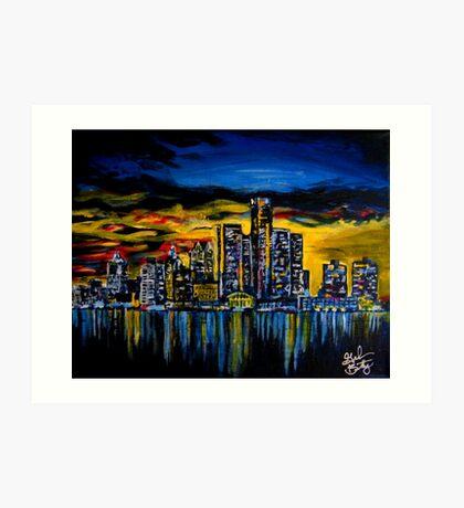 Detroit Skyline Art Print
