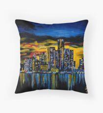 Detroit Skyline Throw Pillow
