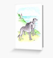 Scottish Deerhounds at The Ocean  Greeting Card