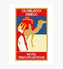 Vintage style 1920s Casablanca travel advertising  Art Print