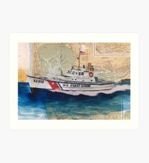 USCG Lifeboat Invincible Nautical Map Cathy Peek Art Print